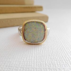 5 CTW Fire Opal Cushion Shaped Rhodium Plated Ring